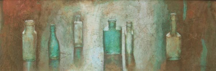 Bottles in a Row, Watercolour Still Life
