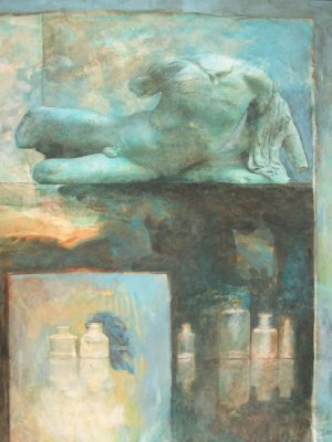 Torso with Bottles, Watercolour Still Life