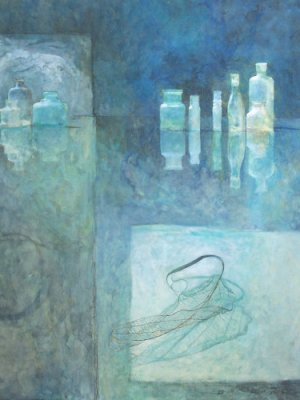 Bottles with Leaf, Watercolour Still Life