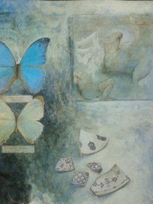 Butterflies & fragments I, Watercolour Still Life