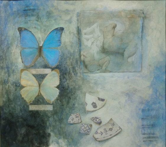 Butterflies & fragments I, Watercolour Still Life