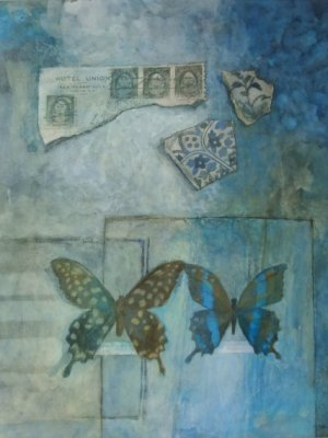 Butterflies & fragments II, Watercolour Still Life