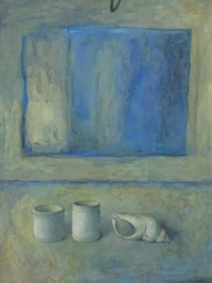 Three vessels and a Space, Watercolour Still Life