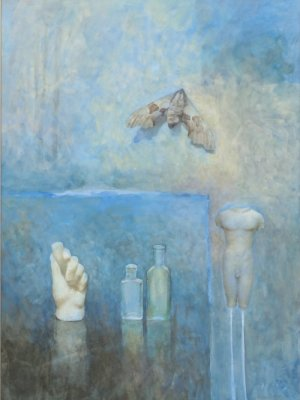Hand with Figure & Moth, Watercolour Still Life