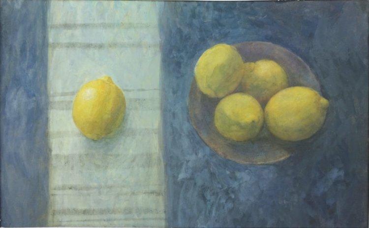 One Lemon in the Light, Watercolour Still Life