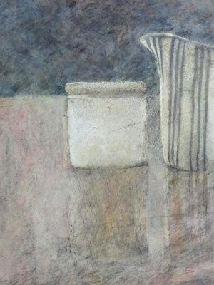 Little Jug with White Pot, Watercolour Still Life