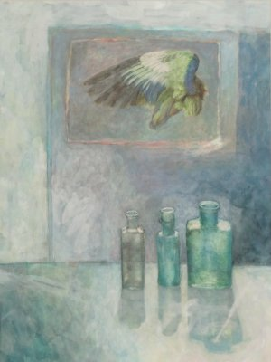 Bottles with Durer Wing, Watercolour Still Life
