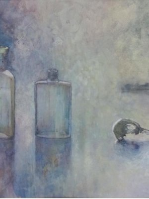 Two Bottles and Little Bird, Watercolour Still Life