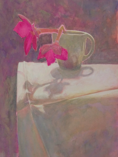 Nicotiana against the light, Watercolour Still Life