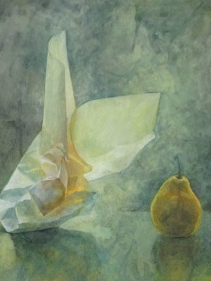 Paper & Pear, Watercolour Still Life