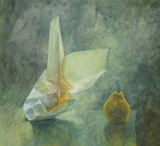 Paper & Pear, Watercolour Still Life