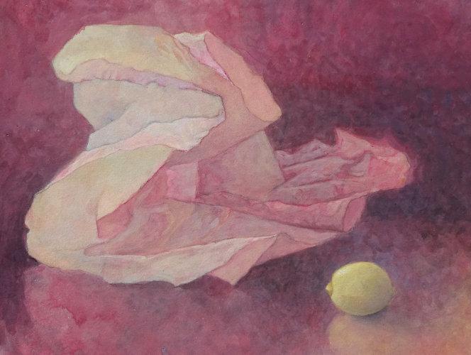 Tissue & Lemon, Watercolour Still Life