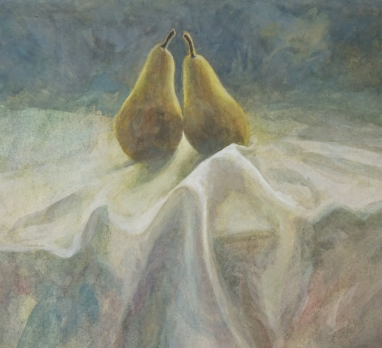 Two Pears, Watercolour Still Life